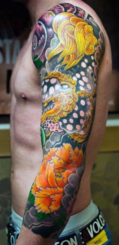 Golden Yellow Japanese Sleeve Tattoo Men