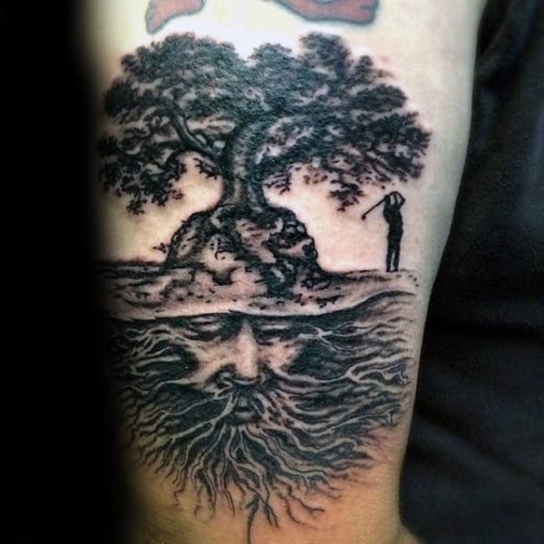 Golfer Tree Roots Mens Arm Tattoos