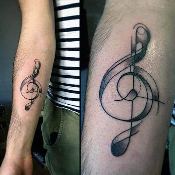 Gometric Male Treble Clef Inenr Forearm Tattoos