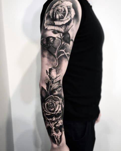 Good Badass Rose Tattoo Designs For Men