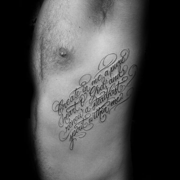 Good Bible Verse Tattoos For Men On Rib Cage With Decorative Quote Font Design