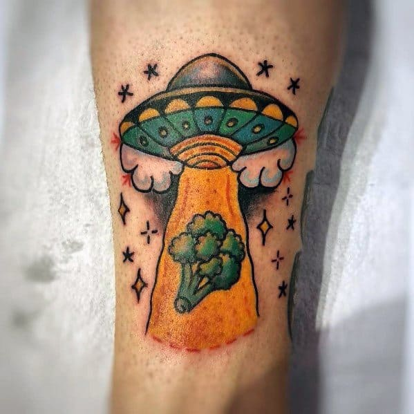 Good Broccoli Alien Aduction Themed Tattoo Designs For Men
