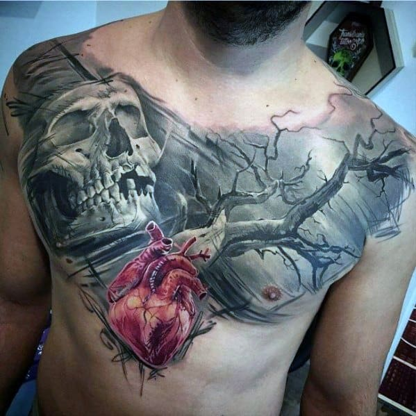 Good Chest Skull Tree And 3d Heart Tattoo Designs For Men