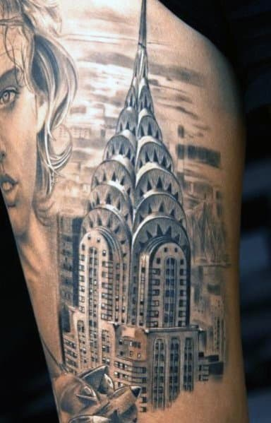 30 Chrysler Building Tattoo Ideas For Men Skyscraper Designs