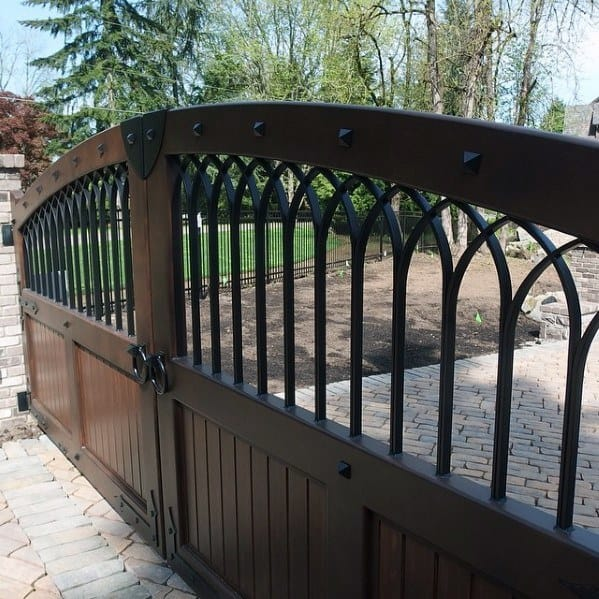 Good Dark Brown Wood And Black Metal Driveway Gate Ideas