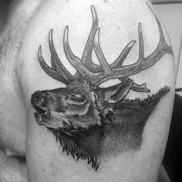 Good Elk Tattoo Designs For Men