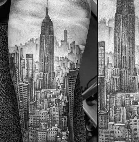 Good Empire State Building Tattoo Designs For Men