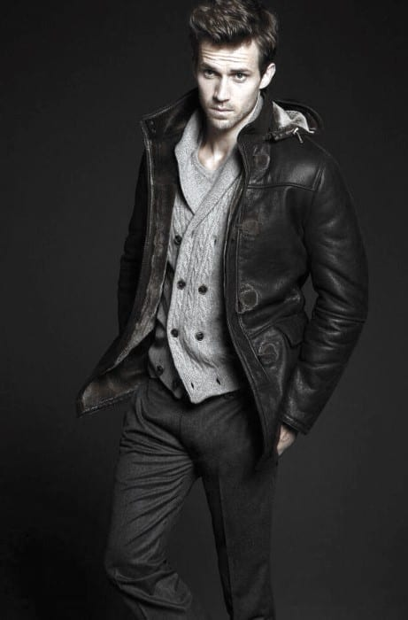 Good How To Wear A Leather Jacket Male Black Leather Jacket Coat Outfits Style Knit Grey Sweater