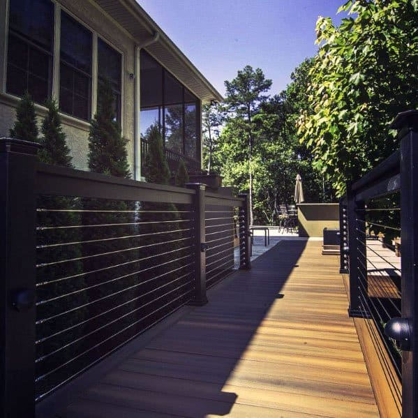 Good Ideas For Black Metal Deck Railing With Stainless Steel Wire
