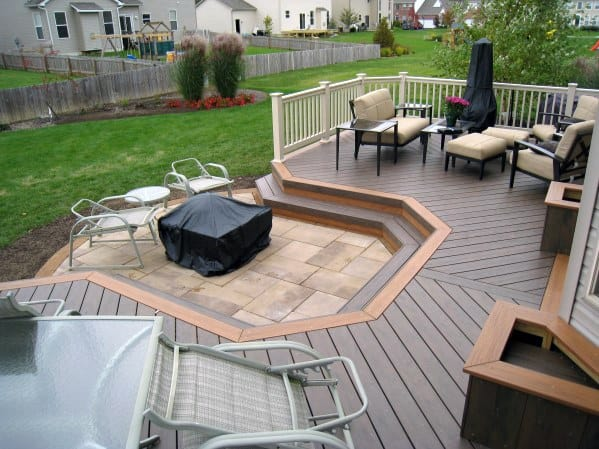 Good Ideas For Deck Fire Pit With Small Stone Paver Patio