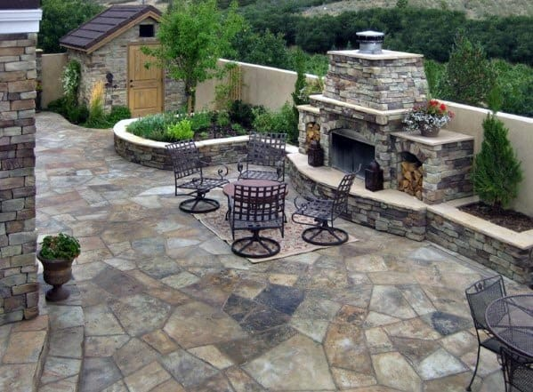 Good Ideas For Giant Flagstone Patio With Fireplace