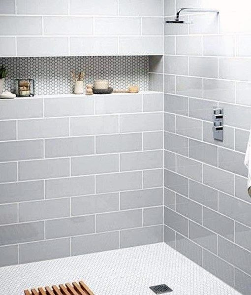 Good Ideas For Large Subway Tile Shower With Round Shower Niche Tiles