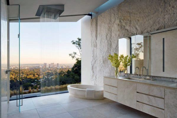 Good Ideas For Modern Master Bathrooms Floor To Ceiling Glass Window