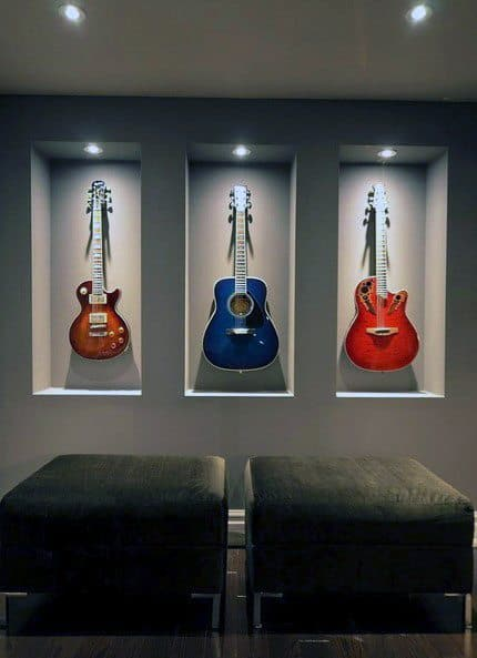 Good Ideas For Recessed Wall Niche For Guitar Wall Display Storage