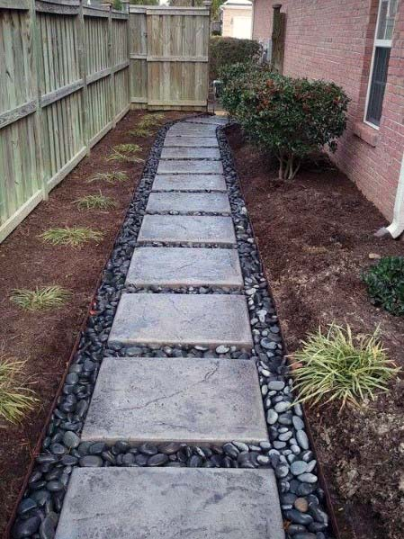 Good Ideas For River Rock Landscaping Stepping Stone Walkway