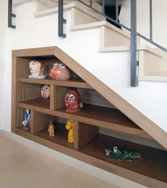 Good Ideas For Under Stairs Wood Bookcase Built In