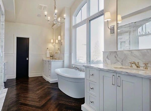 Good Ideas For White Bathrooms With Hardwood Flooring