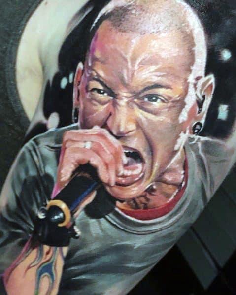 Good Linkin Park Tattoo Designs For Men Chester Portrait On Arm