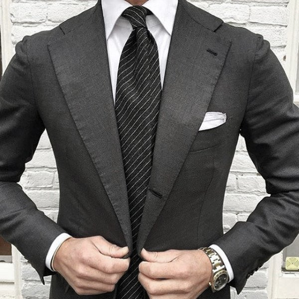 Good Male Black Suit Style Ideas Striped Tie