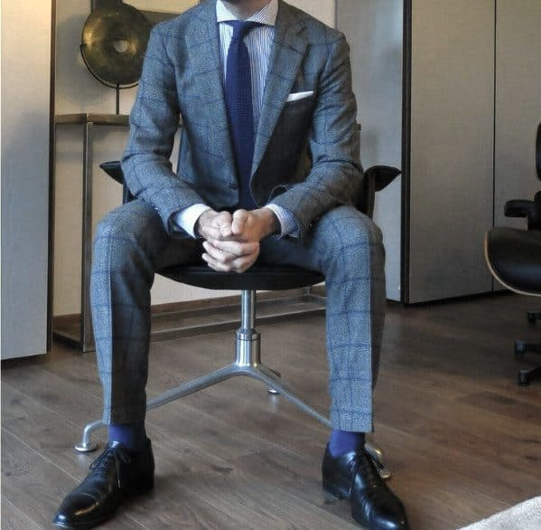 Good Male Charcoal Grey Checkered Suit Black Shoes Style Ideas
