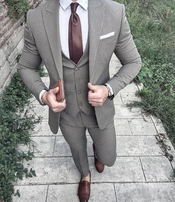 Good Male Charcoal Grey Suit Brown Shoes Style Ideas