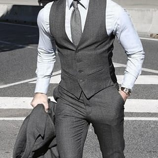 Good Male Grey Suit Style Ideas With Grey Vest And Dress Pants