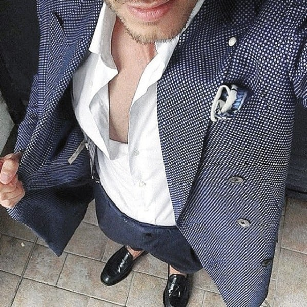 Good Male Navy Blue Suit Black Shoes Tieless White Dress Shirt Style Ideas