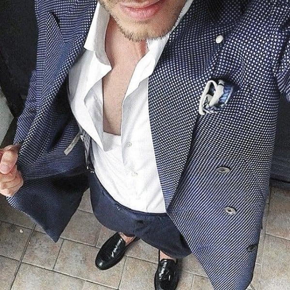 Good Male Navy Blue Suit Black Shoes Tieless White Dress Shirt Style Ideas