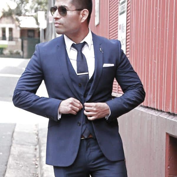 Good Male Navy Blue Suit Style Ideas With White Shirt And Tie Bar