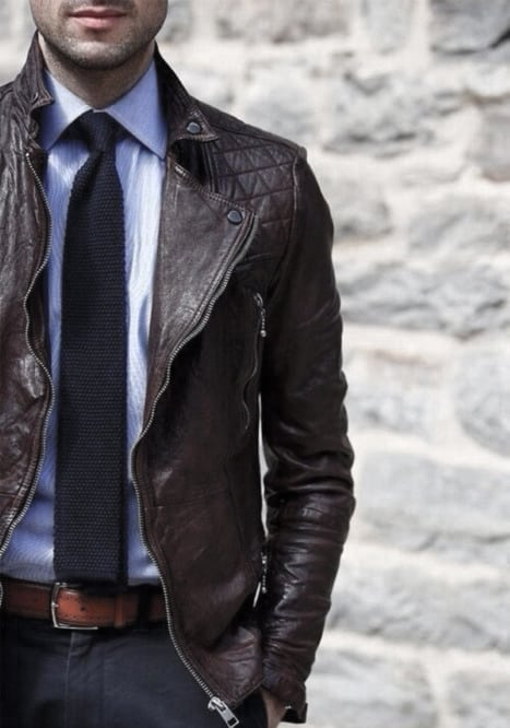 Good Male Winter Outfits Style Ideas Brown Leather Jacket With Light Blue Shirt