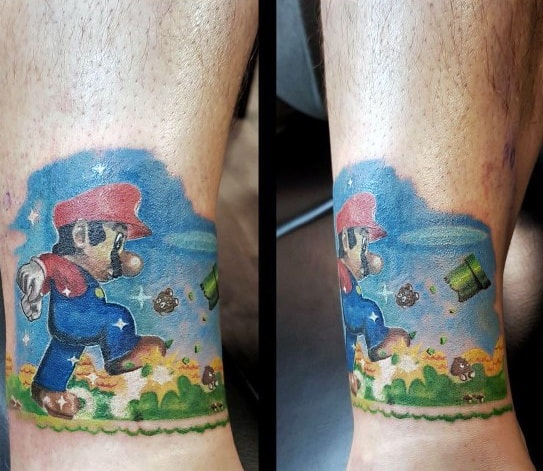 Good Mario Tattoo Designs For Men