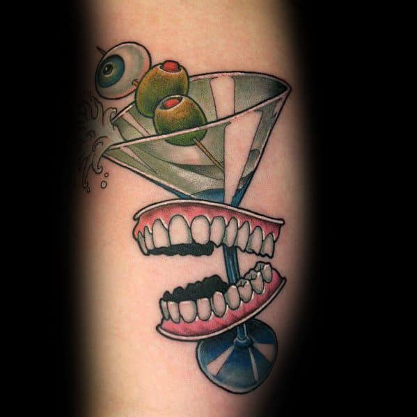 Good Martini Glass Tattoo Designs For Men