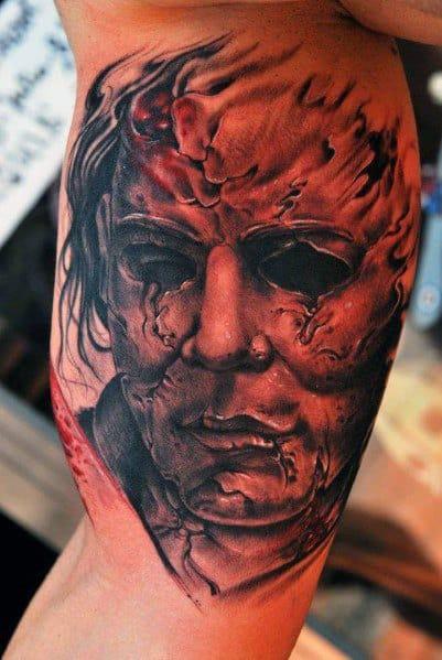 Good Michael Myers Tattoo Designs For Men Inner Arm Bicep