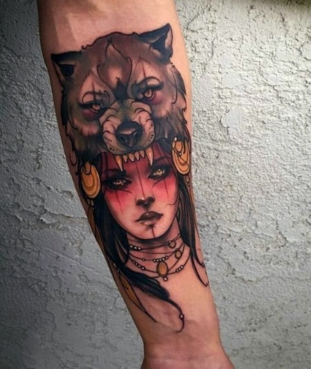 Good Neo Traditional Wolf Tattoo Designs For Men