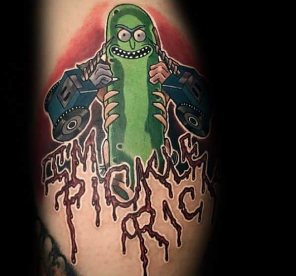Good Pickle Rick Tattoo Designs For Men