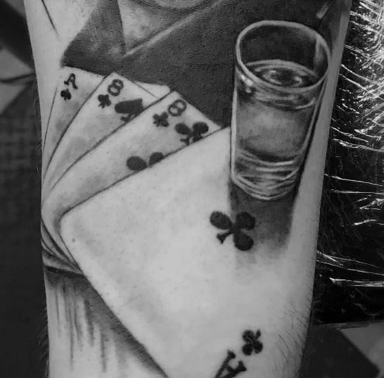 Good Shot Glass Tattoo Designs For Men