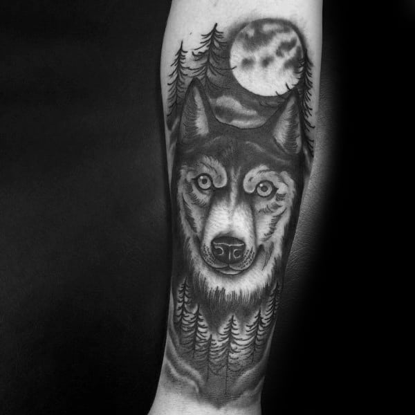 Good Siberian Husky Tattoo Designs For Men