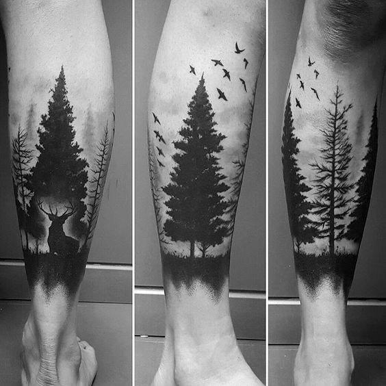 Good Tree Leg Tattoo Designs For Men