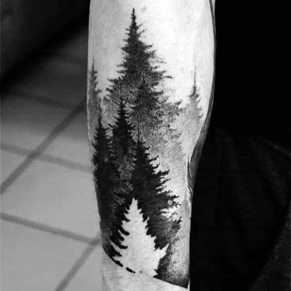 Good Tree Line Tattoo Designs For Men