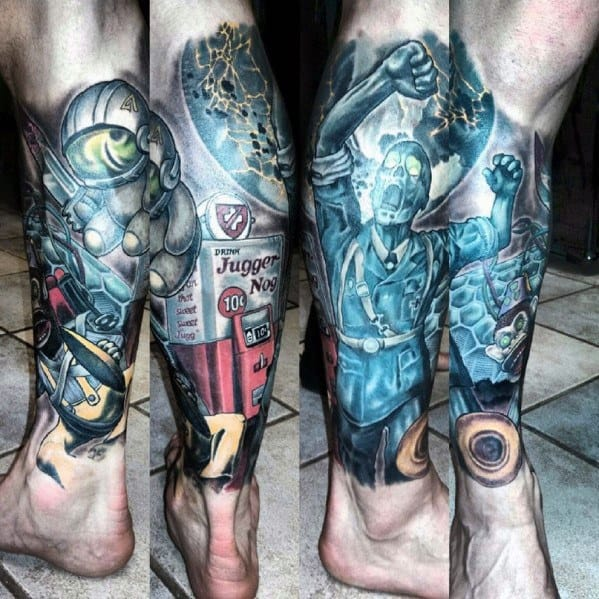 Good Zombie Call Of Duty Tattoo Designs For Men Leg Sleeve