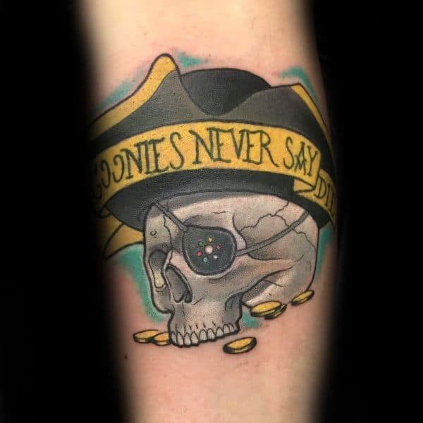 Goonies Never Say Die Skull Hat Tattoo