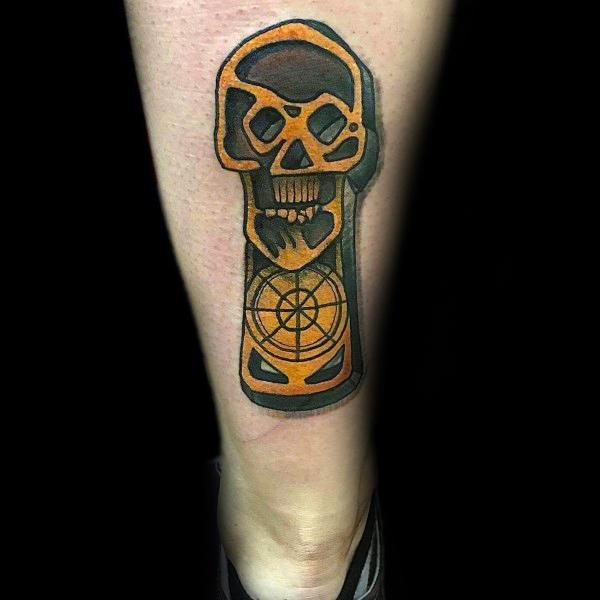 Goonies Tiki Key Back Of Leg Tattoos For Guys