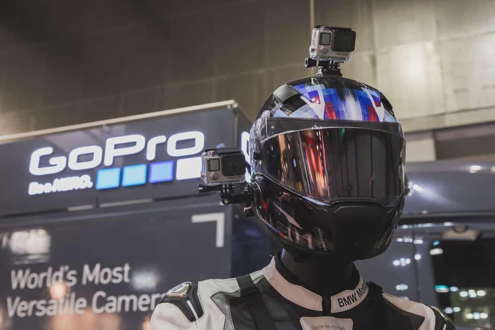 gopro camera on display at international motorcycle exhibition