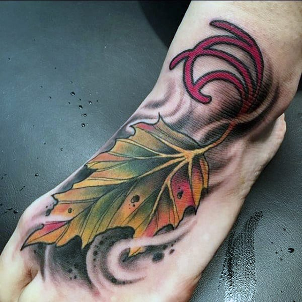 Gorgeous Amber Colored Leaf Tattoo Foot Male