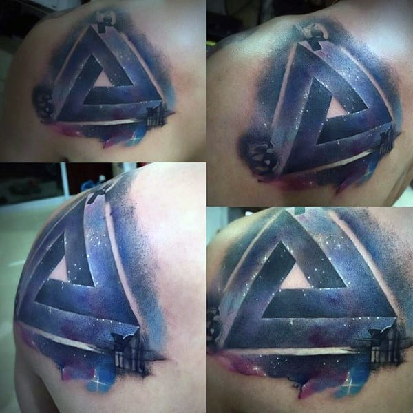 Gorgeous Colored Penrose Tattoo On Back For Men
