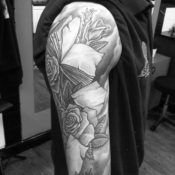 Gorgeous Gray Roses And Books Tattoo Male Arms