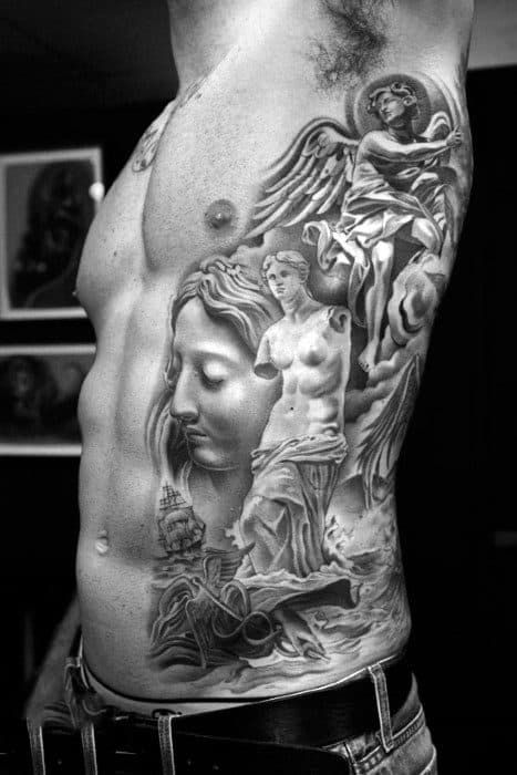 Gorgeous Grey Greek Mythology Realistic Tattoo Male Side Ribs