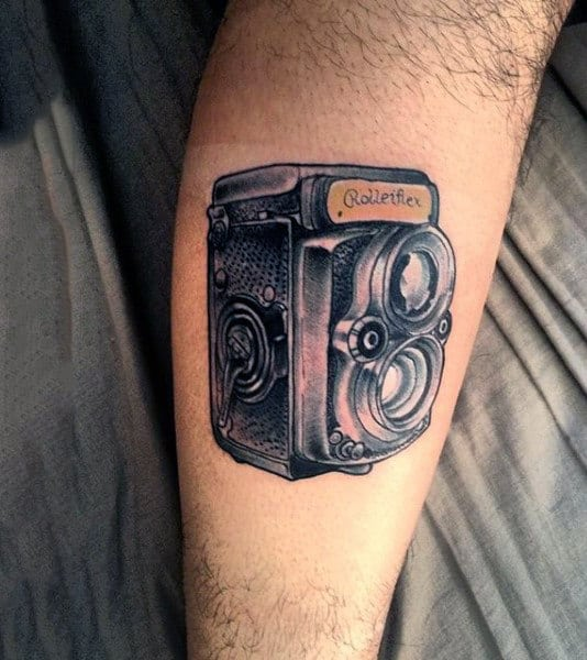 Gorgeous Grey Camera Tattoo Male Forearms