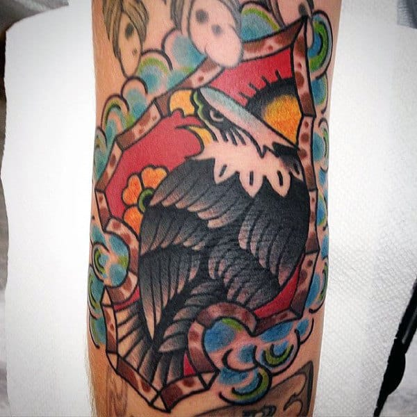 Gorgeous Grey Feathered Eagle Inside Arrowhead Tattoo Male Forarms