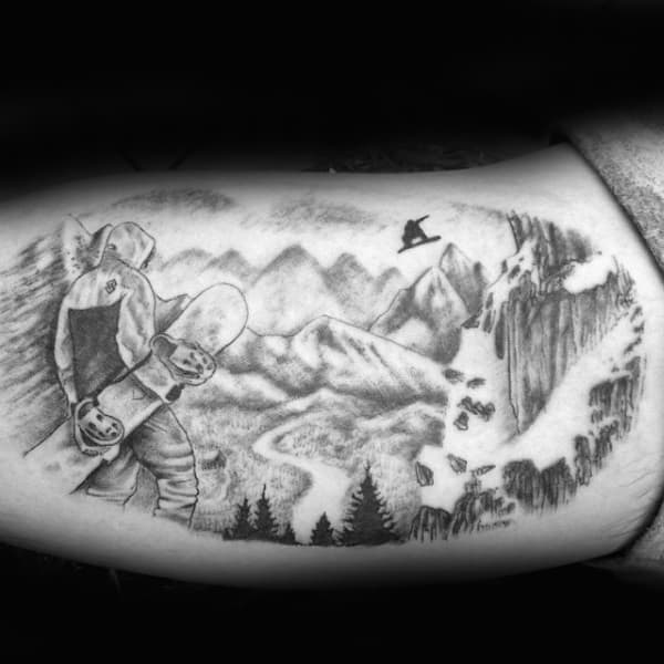 Gorgeous Grey Snowboard Tattoo Male Arms